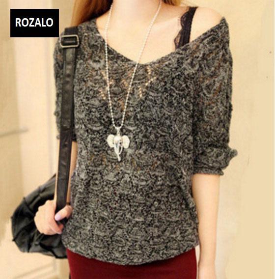 Áo len nữ kiểu mỏng dài tay Rozalo RW25803B-Đen.jpg