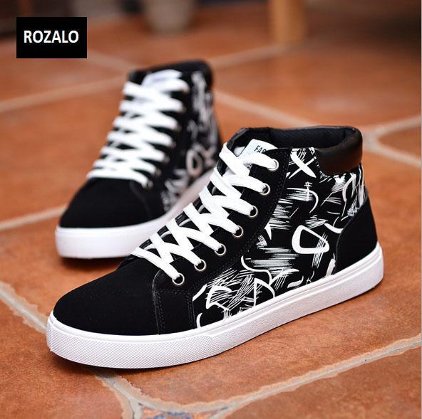 Giày cổ cao thời trang nam Rozalo RM6509B-Đen