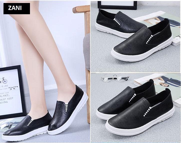 Giày lười nữ đục lỗ ZANI ZN61512B-Đen