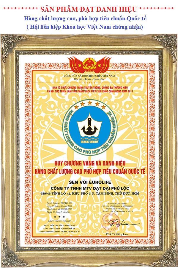 Huy chương vàng hàng chất lượng cao phù hợp tiêu chuẩn quốc tế của sen vòi Eurolife.jpg