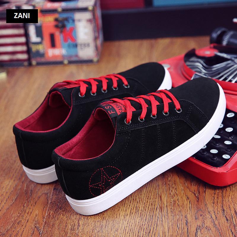Giày sneaker nam kiểu dây buộc ZANI ZN8607BX-Đen Đỏ