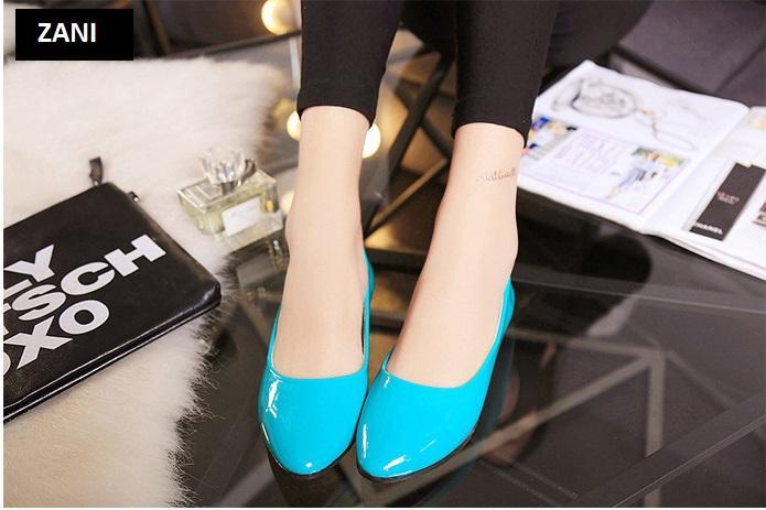 Giày búp bê đế bệt ZANI ZW85016X-Xanh