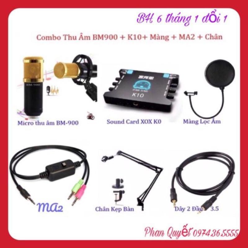 Bộ Míc Thu Âm BM900 K10 Dây Livestream Ma2 Chân Kẹp Míc Màng Lọc Âm