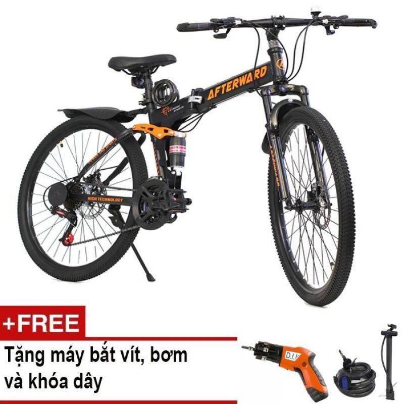Mua Xe đạp gấp địa hình AfterWard (đen) + Tặng 01 máy bắt vít DIY, 01 khóa chống trộm và bơm xe