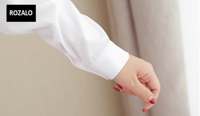 Áo sơ mĩ nữ  dáng suông dài tay Rozalo RW31547W-Trắng9.png