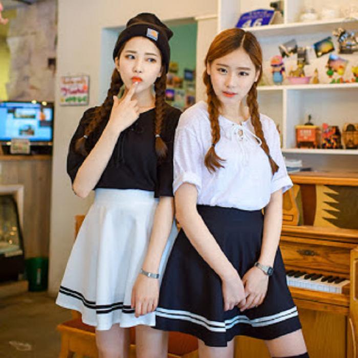 Chân Váy Xòe Phối Viền Hàn Quốc - BT Fashion (Lưng Thun-Đen) VA001a - Ảnh 2