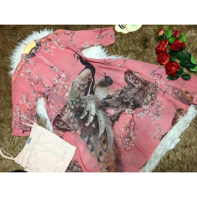 Đầm suông in hoa tay lửng cổ trụ D081