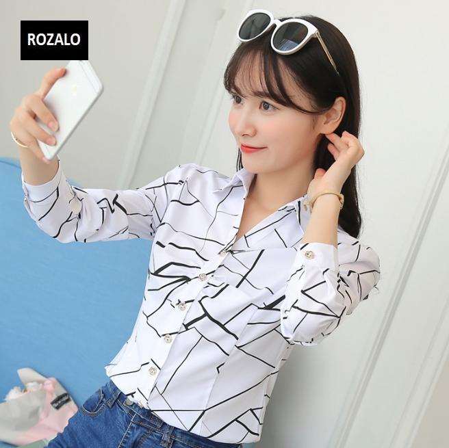 Áo sơ mĩ nữ  công sở dài tay Rozalo RW22941WB-Trắng Đen.png