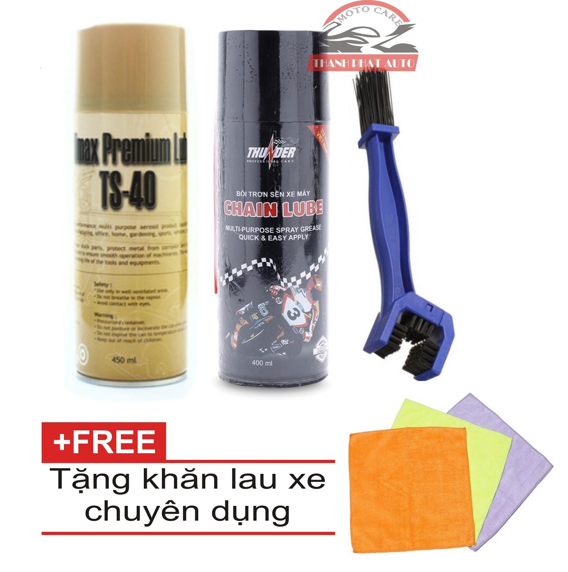 Bộ Rửa sên TS-40 450ml + Bôi trơn sên Thunder 400ml + Bàn chải vệ sinh sên tặng kèm khăn lau xe chuyên dụng