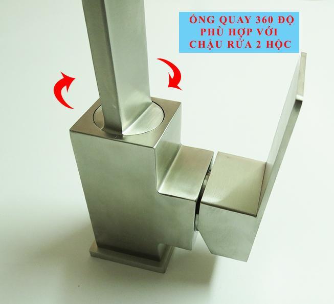 Vòi rửa chén nóng lạnh Inox SUS 304 Eurolife EL-T002 (Trắng vàng)-23.jpg