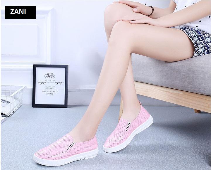 Giày lười nữ đục lỗ ZANI ZN61512P-Hồng