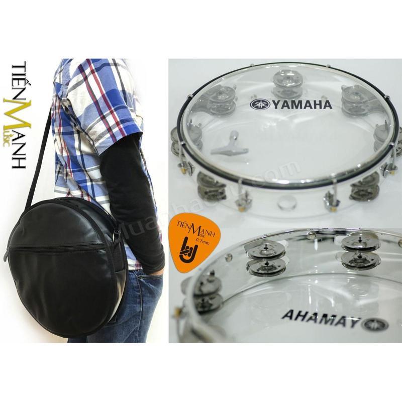 Combo Trống lắc tay và Bao đựng Lục Lạc Gõ Bo Tambourine Yamaha MT6-102T (Trong suốt - Trống chơi nhạc chế gõ po - Xipo - Tặng móng gẩy Tiến Mạnh Music)