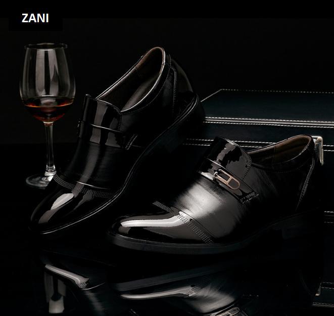 Giày da thời trang nam đế cao Zani ZM62393B-Đen