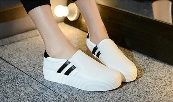 Giày lười tăng chiều cao nữ ZANI ZN3669W-Trắng