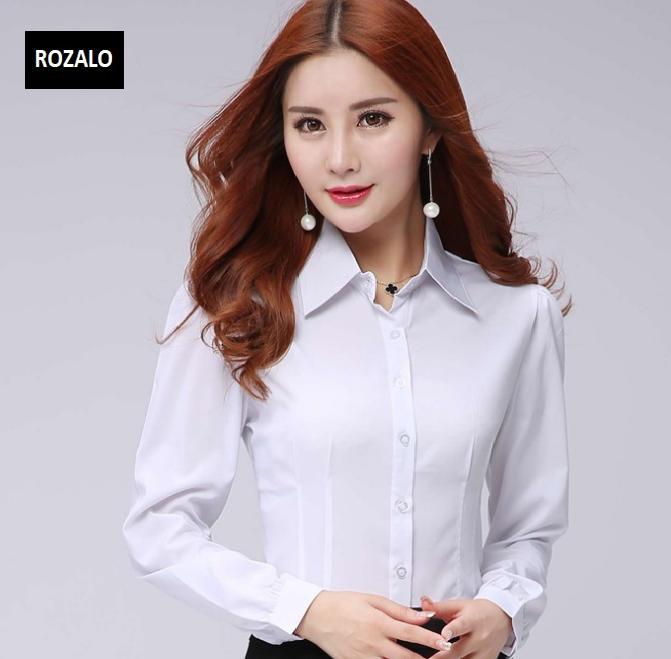 Áo sơ mi nữ công sở dài tay Rozalo RW32571W-Trắng.png