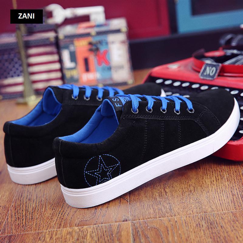 Giày sneaker nam kiểu dây buộc ZANI ZN8607BX-Đen Xanh