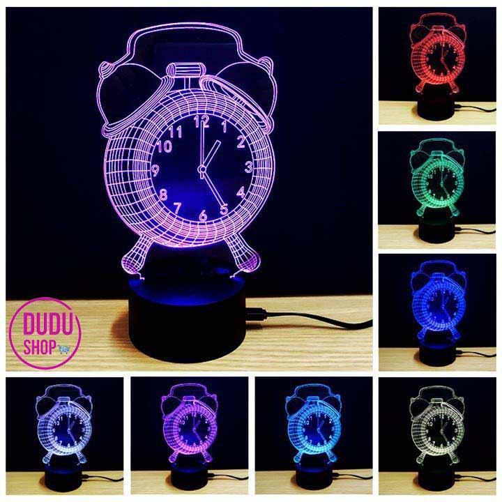 đèn ngủ 3d led 7 màu hình đồng hồ