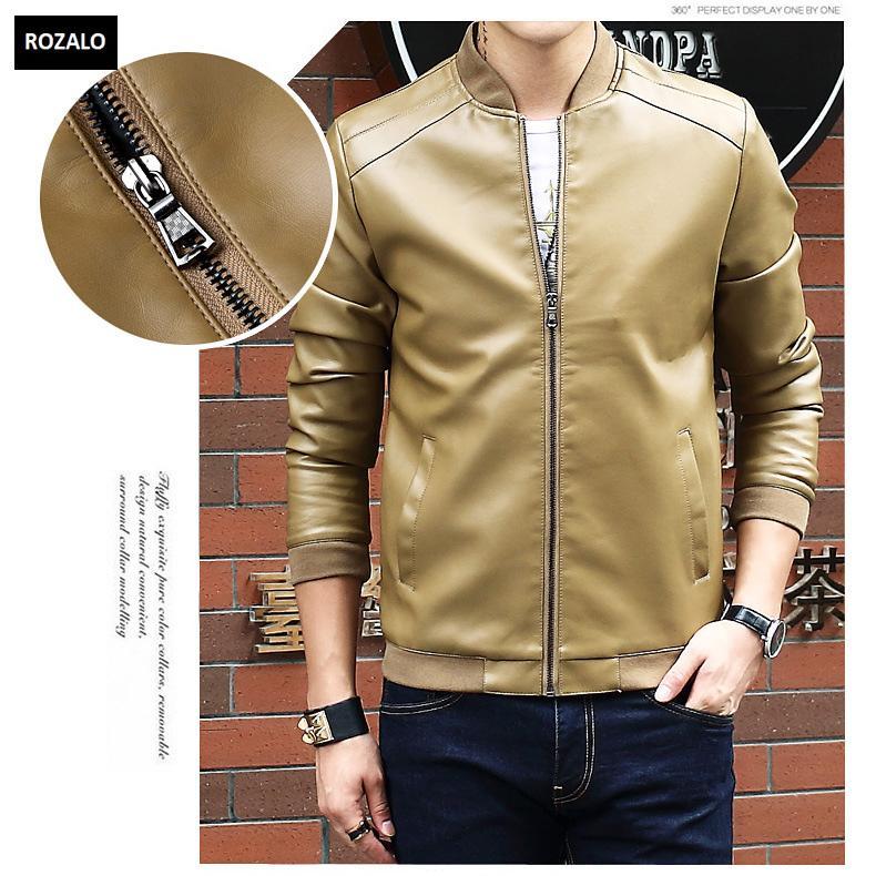 Áo da nam thời trang cổ tròn Rozalo RM8916K-Khaki2.jpg