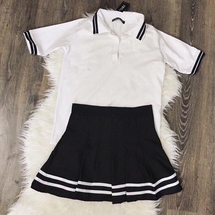 Váy Ngắn Xếp Ly Lưng Cao Hàn Quốc-BT Fashion VA025(Phối Viền-Hồng) - Ảnh 15