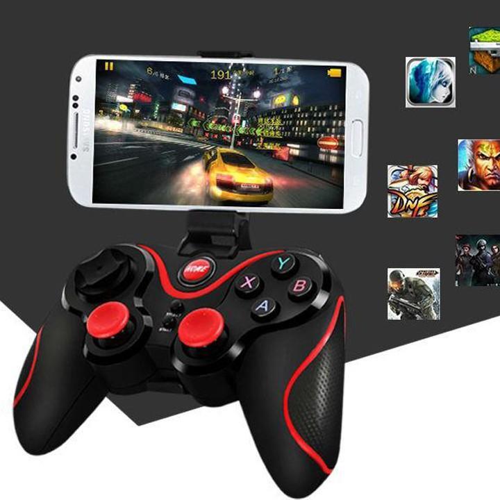Giá Bộ tay cầm chơi game bluetooth T3 + Tặng kèm giá đỡ điện thoại (Đen)