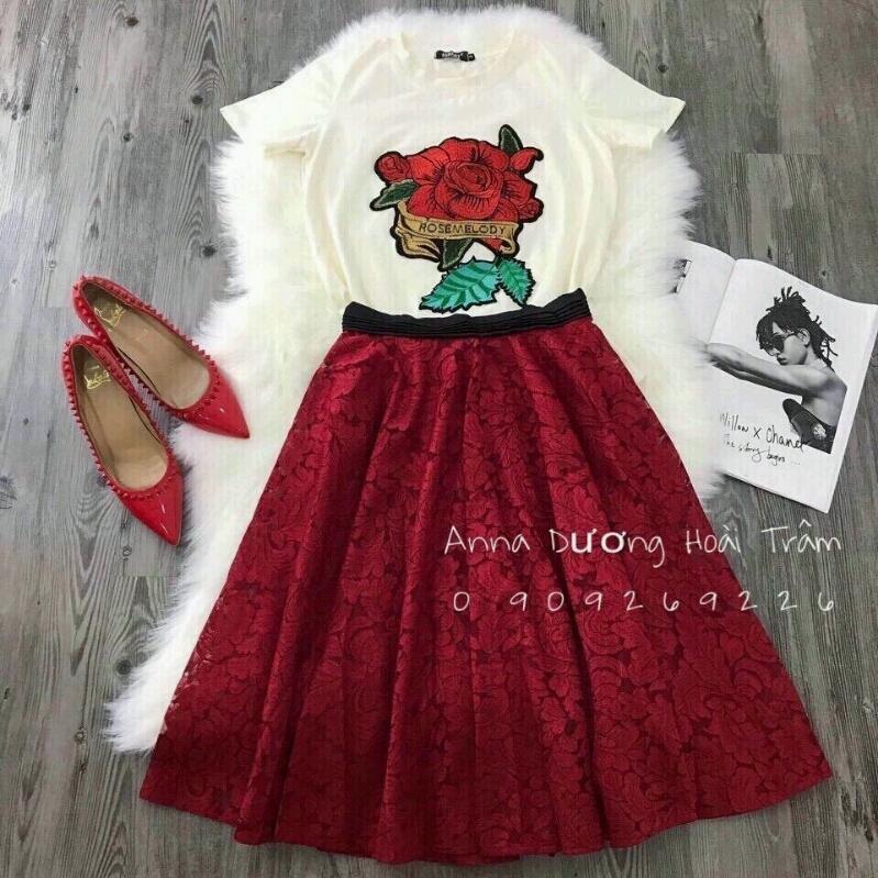 Set áo thêu hoa chân váy ren SET033