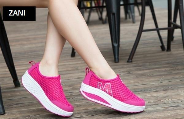 Giày lưới thể thao nữ đế cao ZANI ZN53308HD-Hồng