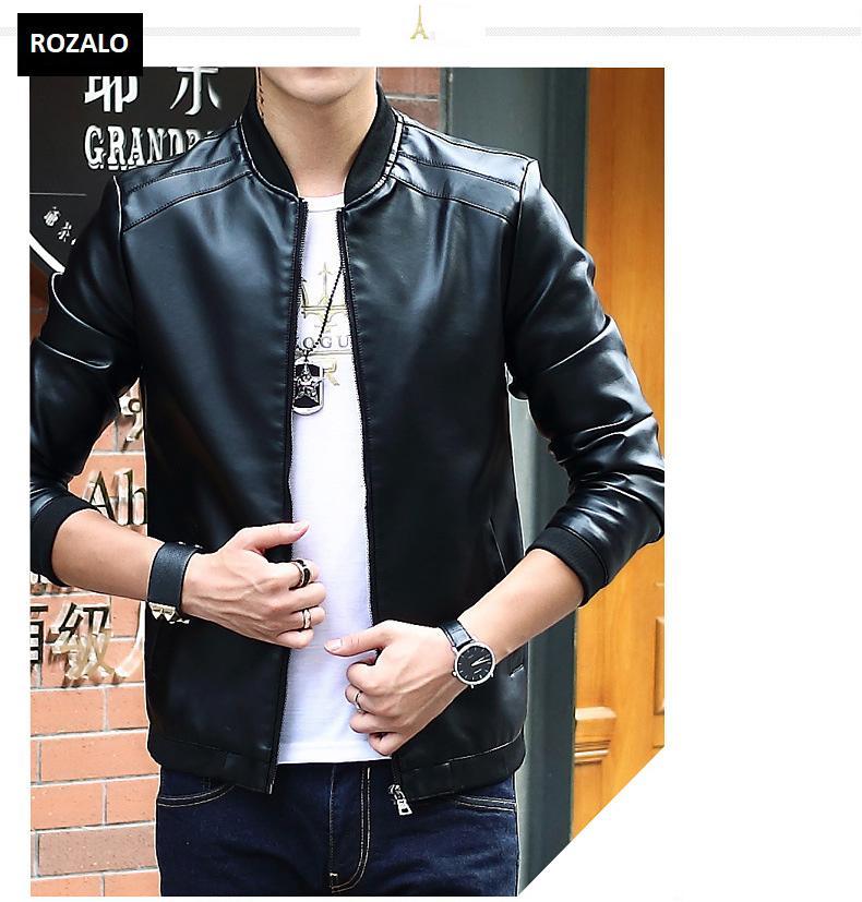 Áo da nam thời trang cổ tròn Rozalo RM8916B-Đen1.jpg