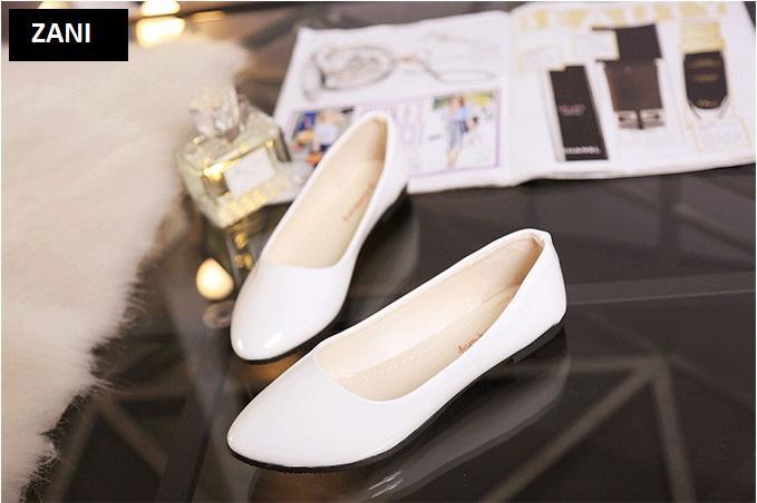 Giày búp bê đế bệt ZANI ZW85016W-Trắng