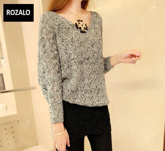Áo len nữ kiểu mỏng dài tay Rozalo RW25803G-Xám