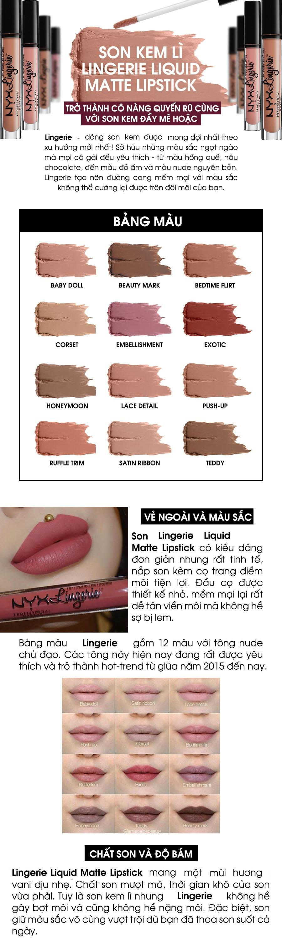 Bộ 2 son kem lì NYX Professional Makeup Lingerie Liquid Matte Lipstick Honeymoon & Teddy