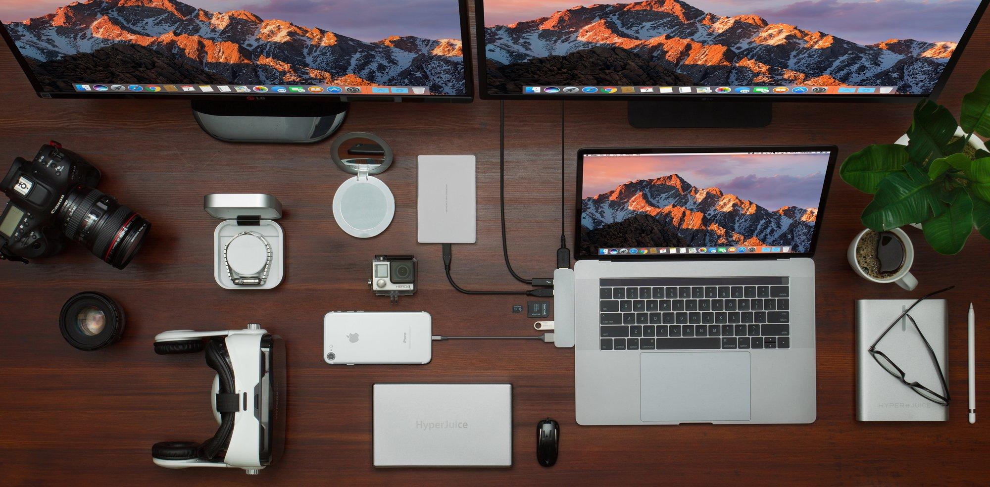 Bộ chia HyperDrive Thunderbolt 3 USB-C Hub bao gồm các khe cắm 1 cổng Thunderbolt 3, 1 cổng USB-C , 1 SC card , 1 micro SD card , và 2 USB 3.1 gen 1 HyperDrive – Review sản phẩm