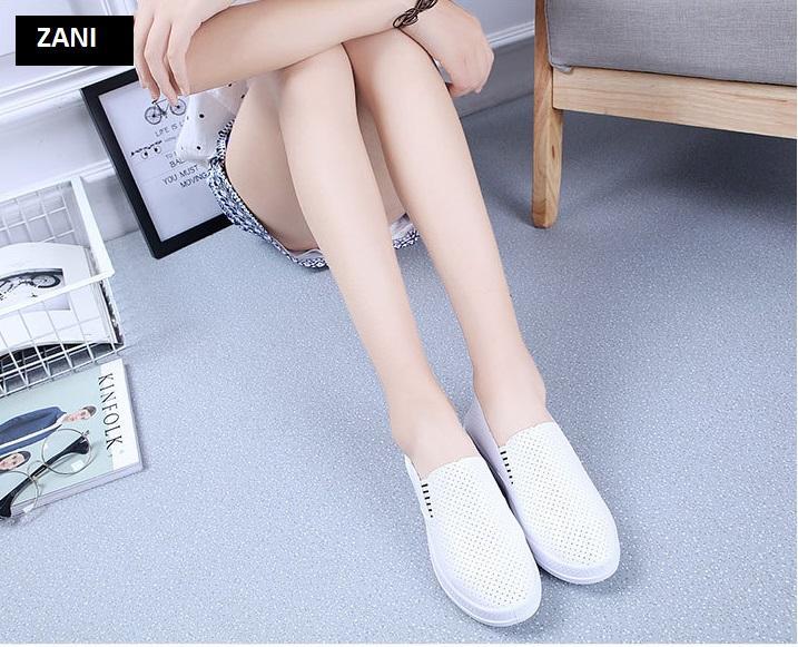 Giày lười nữ đục lỗ ZANI ZN61512W-Trắng