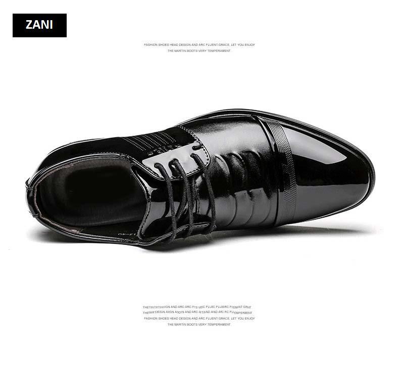 Giày tây da nam đế cao Zani ZM51913B - Đen