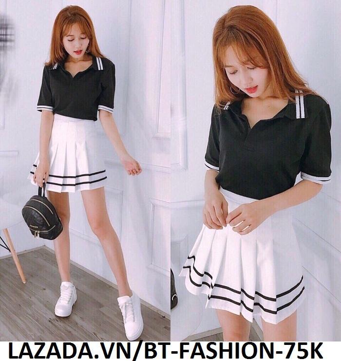 Váy Ngắn Xếp Ly Lưng Cao Hàn Quốc-BT Fashion VA025(Phối Viền-Hồng) - Ảnh 9