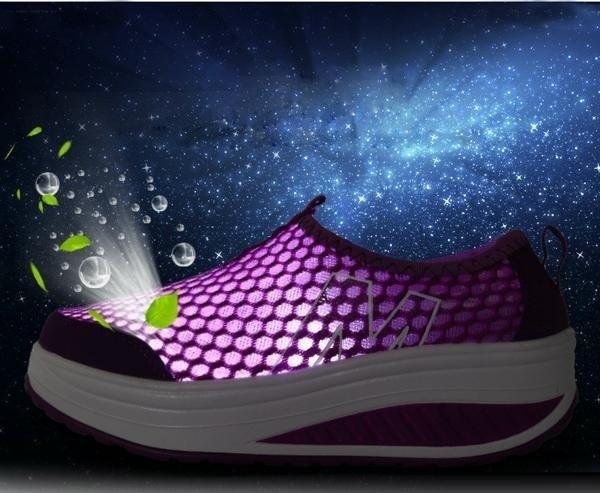 Giày lưới thể thao nữ đế cao ZANI ZN53308GR-Xám