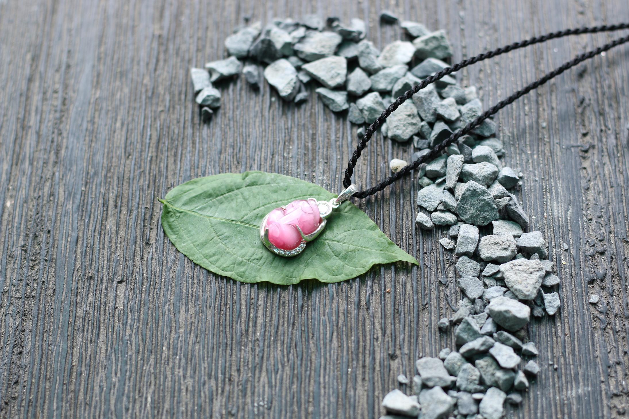 Tỳ hưu pha lê bọc bạc - hồng 2.JPG