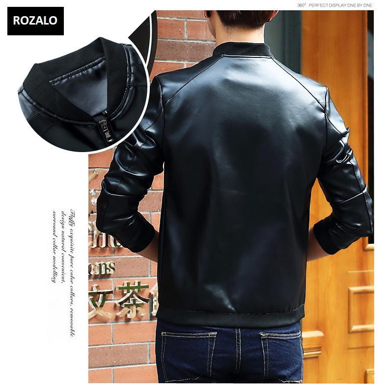 Áo da nam thời trang cổ tròn Rozalo RM8916B-Đen2.jpg