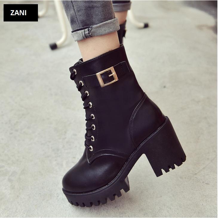 Giày boot nữ cổ cao đế vuông chống trượt ZANI ZN81130B-Đen