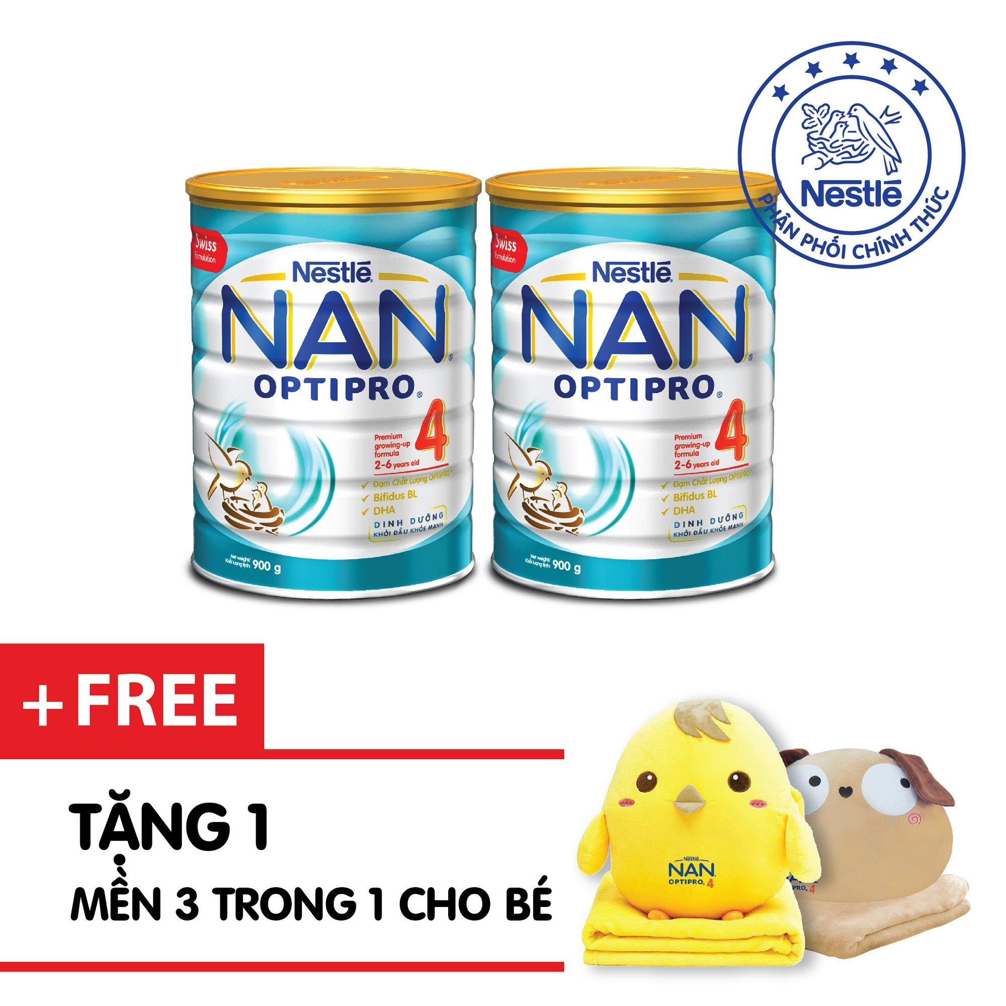 Bộ 2 Sữa bột Nestle NAN OPTIPRO 4 900g + Tặng 1 Mền 3 trong 1( Màu Ngẫu Nhiên)