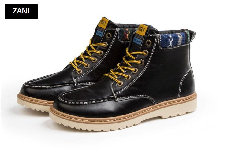 Giày nam cổ cao dã ngoại chống thấm đế bằng Zani ZM58819B-Đen