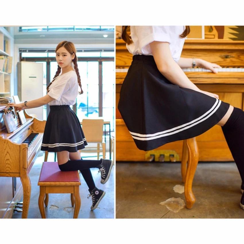 Chân Váy Xòe Phối Viền Hàn Quốc - BT Fashion (Lưng Thun-Đen) VA001a - Ảnh 9