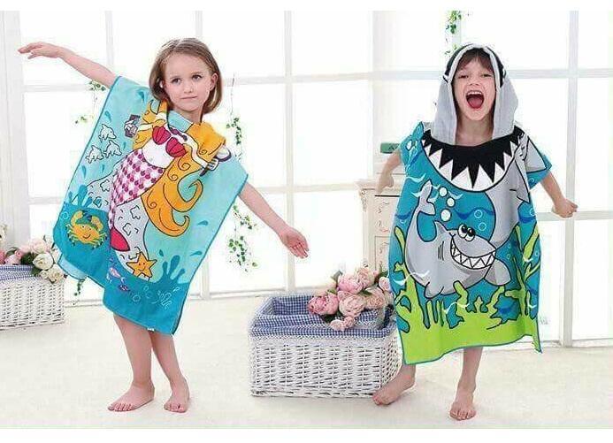 Áo choàng, khăn choàng tắm hoạt hình có mũ cho bé