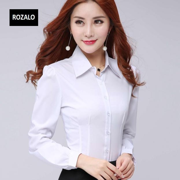Áo sơ mi nữ công sở dài tay Rozalo RW32571W-Trắng3.png