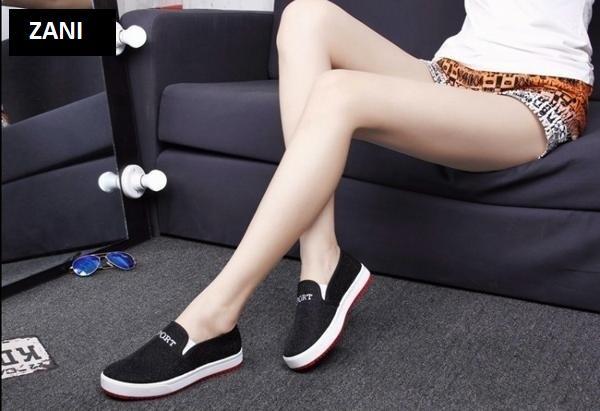 Giày lười Slip On nữ ZANI ZN4505BL-Đen