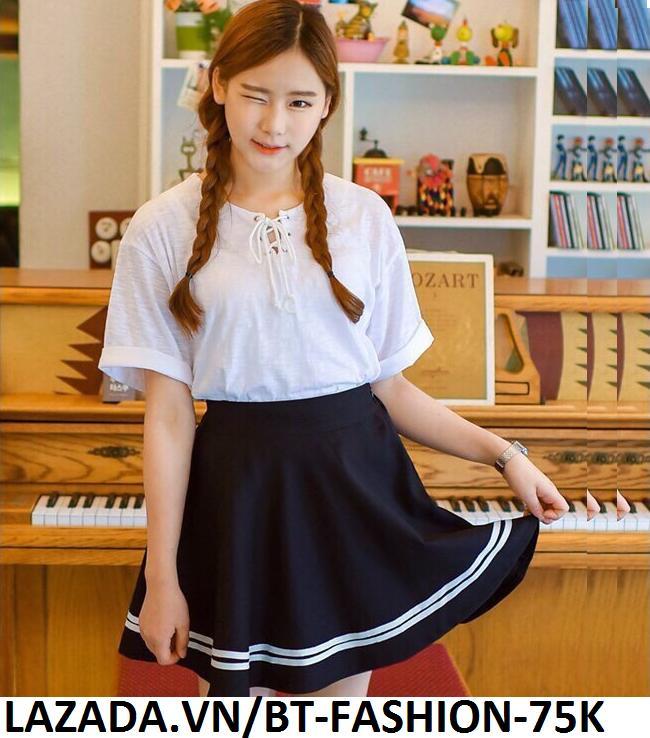 Chân Váy Xòe Phối Viền Hàn Quốc - BT Fashion (Lưng Thun-Đen) VA001a - Ảnh 1