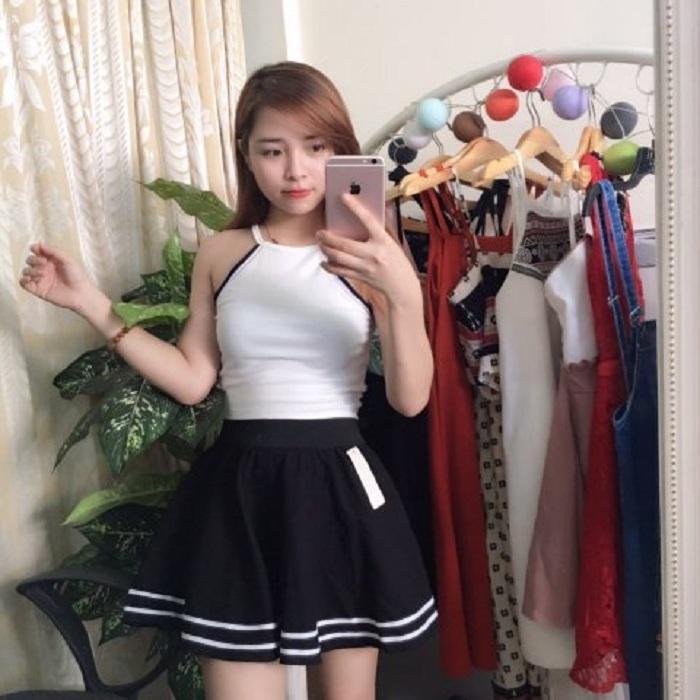 Chân Váy Xòe Phối Viền Hàn Quốc - BT Fashion (Lưng Thun-Đen) VA001a - Ảnh 5