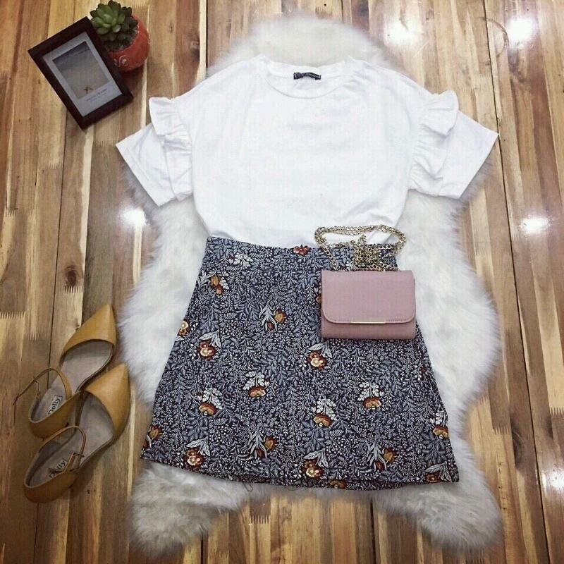 Set áo thun bèo kèm chân váy hoa SET035