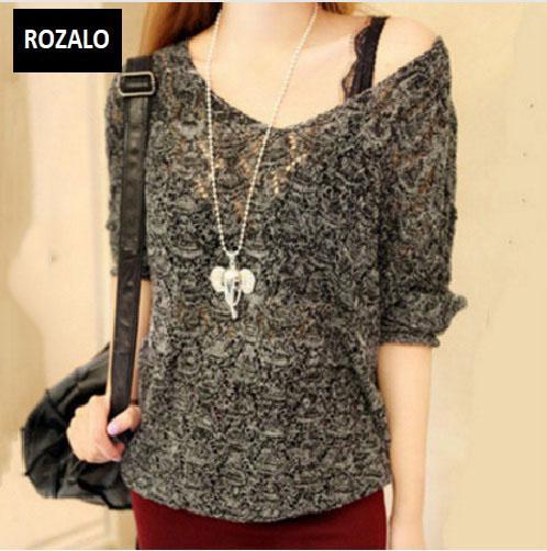 Áo len nữ kiểu mỏng dài tay Rozalo RW25803B-Đen1.jpg