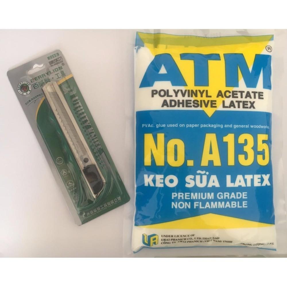 COMBO 1 BỊCH KEO SỮA ATM A135 + 1 DỤNG CỤ RỌC GIẤY VỈ LỚN