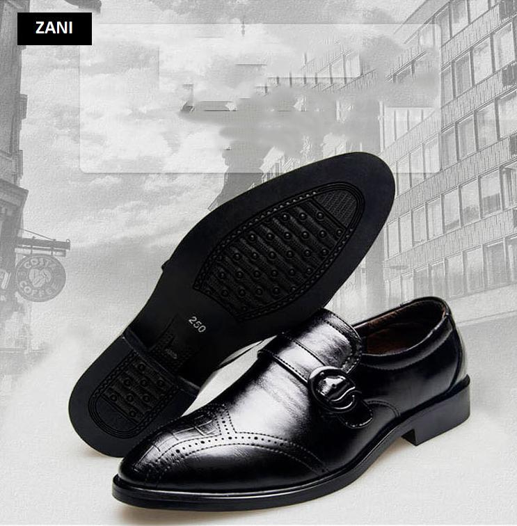 Giày tây nam công sở thoáng khí kiểu xỏ có khóa Zani ZN51091B-Đen